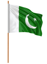 3D Flag Of Pakistan With Fabric Surface Texture. White Background.