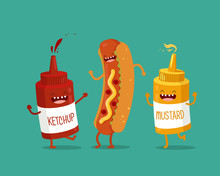 Funny Hotdog, Ketchup And Must...