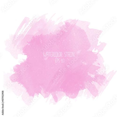 Plakat Różowa akwareli plama na białym tle
