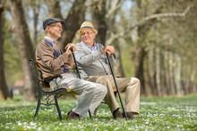 Two Old Friends Talking In Park
