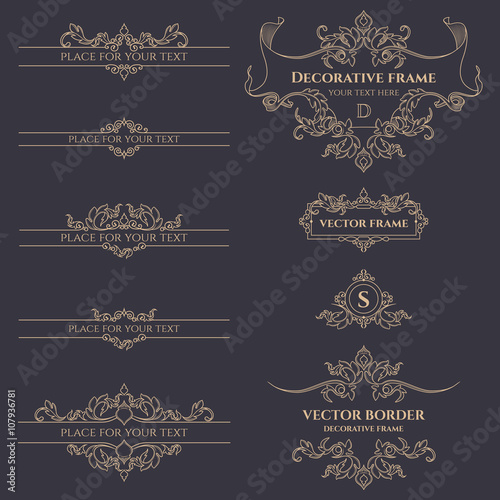 Valokuva  Floral monograms and borders, frames for cards, invitations, menus, labels