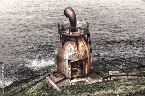 Old signal horn of the Mull of Kintyre on the coast of Scotland Canvas Print
