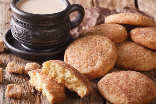 Photo sur Toile Biscuit Homemade Snickerdoodle cookies close-up on the table. Horizontal