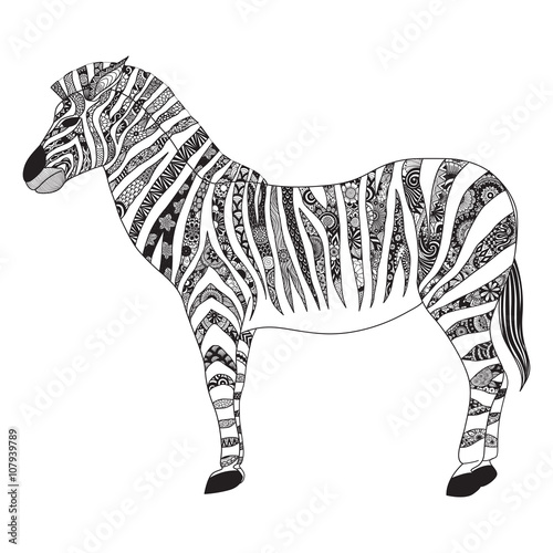 Zebra zentangle stylized for T- Shirt design, sign, poster ...