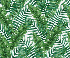 Obraz na PlexiWatercolor tropical palm leaves seamless pattern. Vector illustration.
