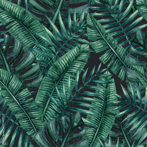 akwarela-tropikalny-lisci-palmowych-wzor-butelkowa-zielen