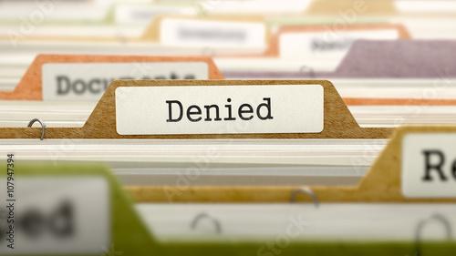 Fotografía  Denied on Business Folder in Multicolor Card Index