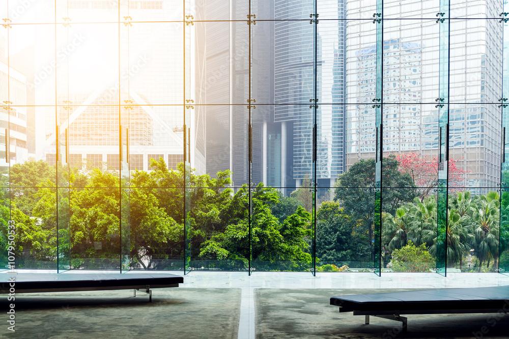 Fototapeta Glass wall in the office building - obraz na płótnie