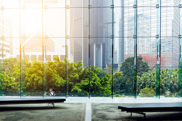 Glass wall in the office building