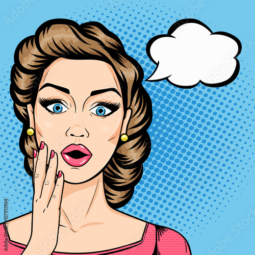 Poster Pop Art Vector woman shocked face with open mouth and speech bubble for message in pop art comics style. Retro amazed woman face.