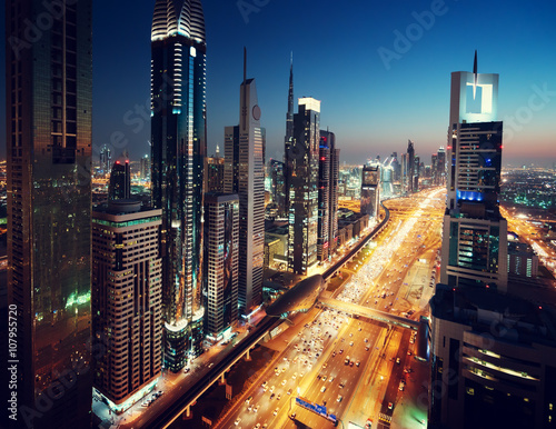 Foto op Canvas Texas Dubai skyline in sunset time, United Arab Emirates