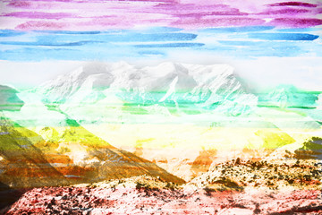 FototapetaFantastic mountain landscape, made with colored water color filt