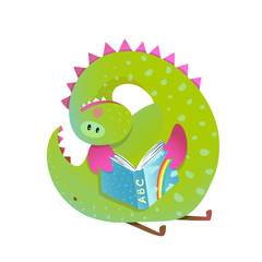 Naklejka Do pokoju dziecka Baby dragon reading book study cute cartoon