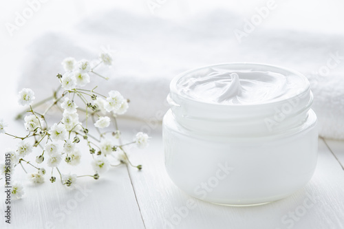 Fotografie, Obraz  Yogurt cream beauty cosmetic product wellness and relaxation makeup mask in glas