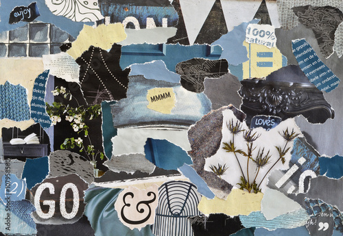 Atmosphere color petrol blue, grey,white and black mood board collage sheet made Fotobehang