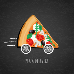 Obraz na PlexiVector design for pizza delivery, italian restaurant menu, cafe, pizzeria. Pizza with wheels on black chalkboard background. Slice of pizza with tomato, olives, mushrooms. Fast food delivery symbol.