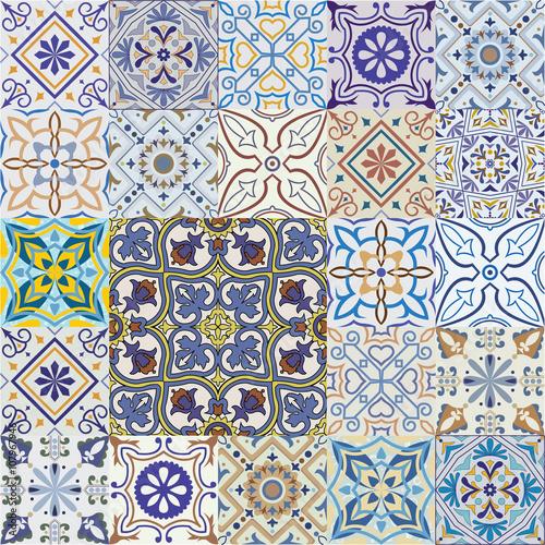 Printed kitchen splashbacks Moroccan Tiles Big set of vector tiles background.