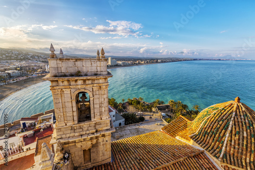 View on Peniscola from the top of Pope Luna's Castle , Valencia, Spain