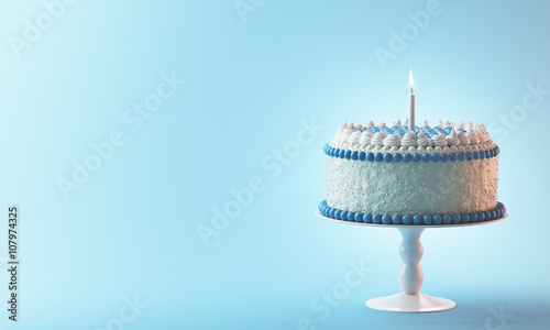 Fotografie, Obraz  Torta compleanno con candela azzurra bimbo