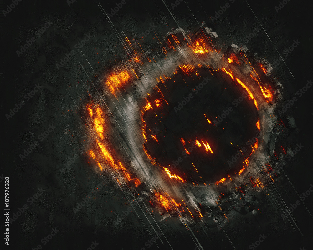 Fototapety, obrazy: Abstract burning cloud fractal with round hole on black background
