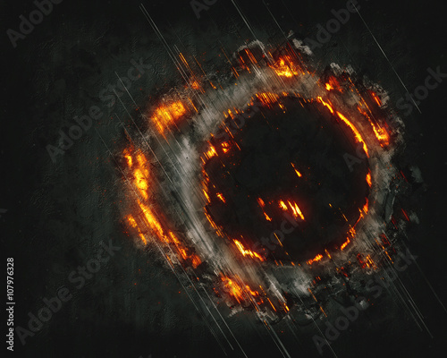 Fotografiet  Abstract burning cloud fractal with round hole on black background