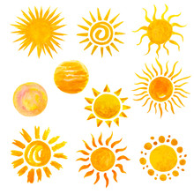 Set Of Watercolor Sun Icons Is...