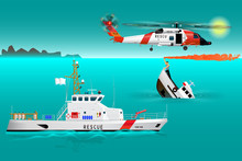 Helicopter Rescue Teams And Ship At Sea. Coast Security. Sinking Boat. Sailor Takes A Distress Signal. The Accident On The Water. Rescue On The Water