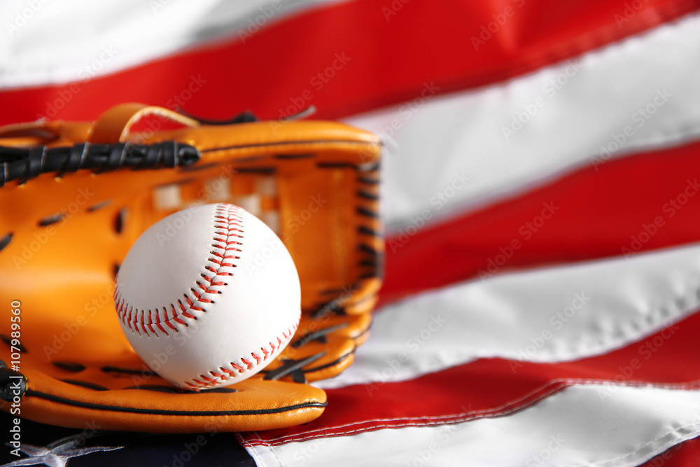 3204e48e566e Photo   Art Print Baseball and glove on background of American flag ...