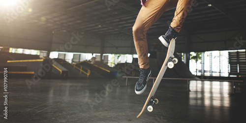 Skateboarding Practice Freestyle Extreme Sports Concept Canvas Print
