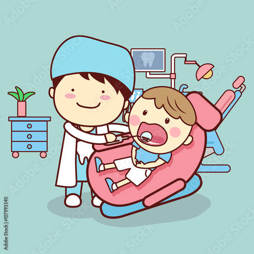 doctor checking child tooth Canvas-taulu
