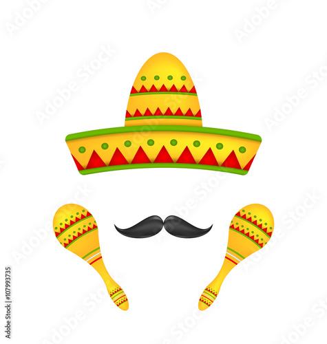 Fotografie, Obraz  Mexican Symbols Sombrero Hat, Musical Maracas, Mustache