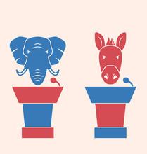Donkey And Elephant As A Orators Symbols Vote Of USA