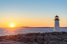 Peggys Cove Lighthouse At Sunset