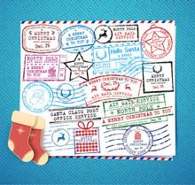 Christmas Stamps Set. Retro Christmas Stamp. Passport Stamps