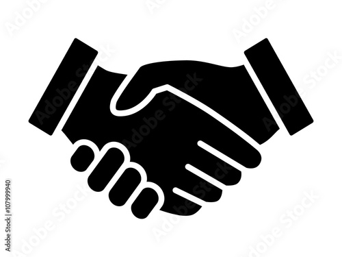 Business agreement handshake or friendly handshake line art icon for apps and we Canvas Print