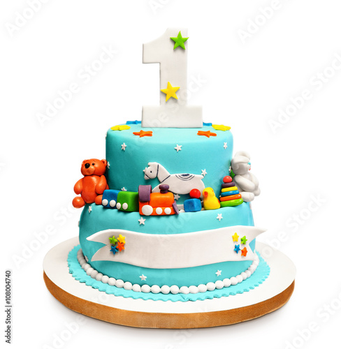Birthday cake isolated on white background. Canvas Print