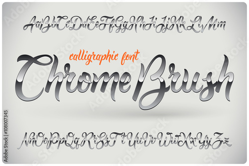 Fotografia, Obraz  Chrome Brush calligraphic font with glossy metall effect