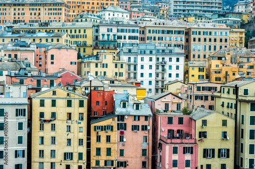 Fotografia  Genua port domy panorama miasta