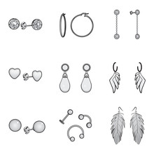 Black And White Illustration Of Different Kind Of Earrings And Pendants