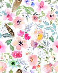 Panel Szklany Inspiracje na wiosnę Botanical seamless pattern