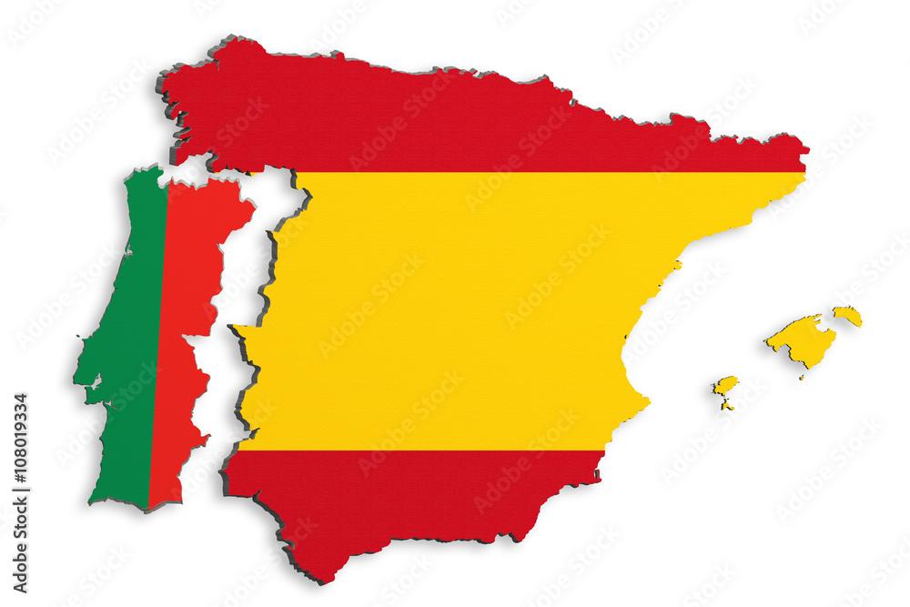 Iberian Peninsula map Foto, Poster, Wandbilder bei EuroPosters