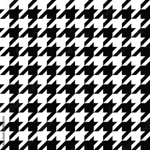 Houndstooth Pattern Black in Vector Wallpaper Mural