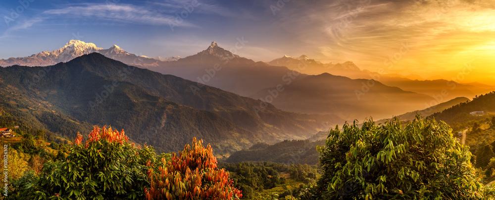 Fototapety, obrazy: Sunrise over Himalaya mountains