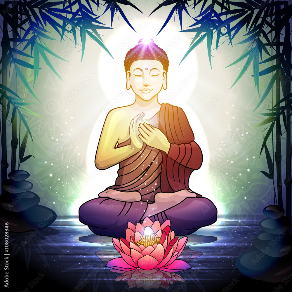 Photo art print buddha in meditation with lotus flower europosters izmirmasajfo