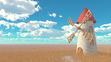 Rural Landscape. Wheat Field, Medieval Windmill With A Red Tile Roof, Blue Sky With White Clouds. 3D Illustration.