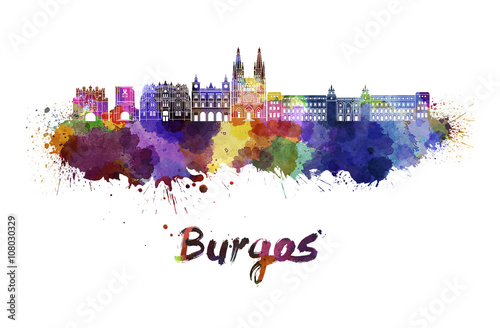 Burgos skyline in watercolor