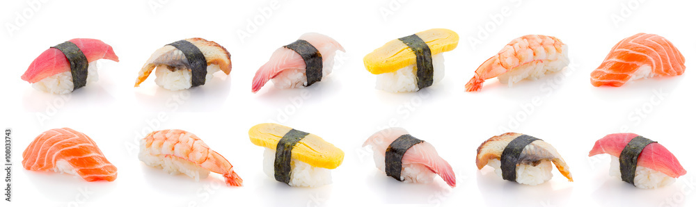 Fototapety, obrazy: Set of sushi nigiri isolated on white background