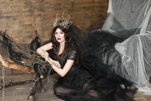 The portrait of beautiful girl in  black dress and crown Wallpaper Mural