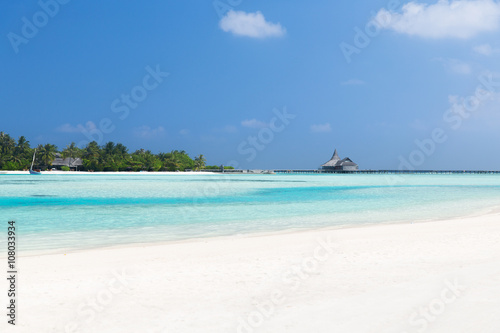 Poster Turquoise maldives island beach with palm tree and villa