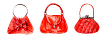 Three Red Bags. Ladies' Handbags. Modern Bright Woman's Handbag Isolated On White Background. Water Color Painting. Decoration With Handbags, Hand-drawing.